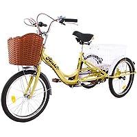Riscko Triciclo para Adultos con Dos cestas (Beige)