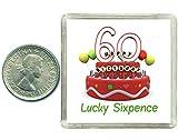 60. Geburtstag, Silbermünzen, Sixpence in Geschenkbox, als Geschenk/Andenken