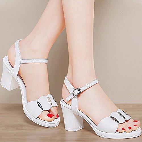 ZPPZZP La sig.ra sandali scanalato in stile occidentale punta aperta con tacco alto ruvida 36EU