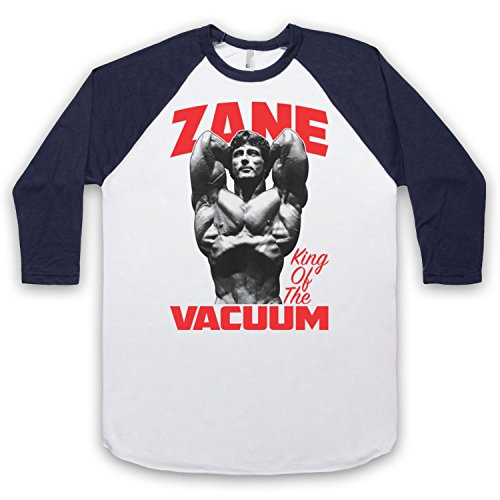 Inspiriert durch Frank Zane King Of The Vacuum Bodybuilder Unofficial 3/4 Hulse Retro Baseball T-Shirt Weis & Ultramarinblau