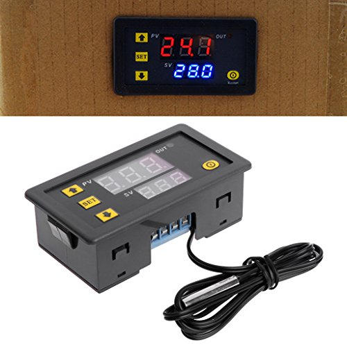 BIlinli Temperature Controller Relay Dual Digital LED Display Heating/Cooling Regulator Thermostat Switch -