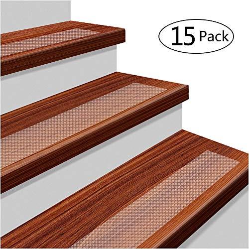 15 x Antirutschstreifen Treppe Set Anti Rutsch Selbstklebende Stufenmatten Transparent Rutsch Streifen als Rutschschutz Treppenstufen Matten 10cm x 61cm -