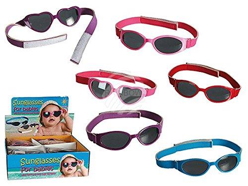 Baby-Sonnenbrille mit Klettbandverschluß, 6-fach sortiert, 48 Stück im Display