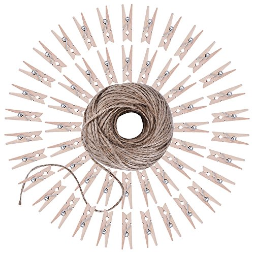 eboot-164-feet-twine-with-50-pieces-mini-wooden-craft-pegs-pins