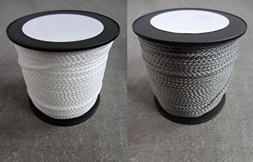 6 m PP-Polyester Schnur 1,5mm Ø Weiß oder Grau Geflochten Leinen Seil aus Polypropylen (PP) Kordel Schnullerketten basteln HOHE QUALITÄT Reißfest KOSTENLOSER VERSAND