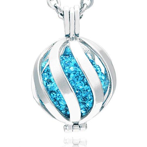 Morella Damen Schutzengel Halskette Edelstahl 70 cm mit Anhänger Spirale und Klangkugel Zirkonia türkis Ø 16 mm in Schmuckbeutel