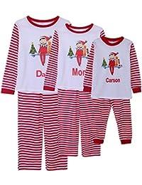 Conjunto de pijamas de Navidad a juego familiar Conjunto de pijamas de Mon Dad Papá de 2 pcs a rayas