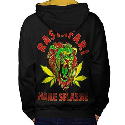 Stoner Rasta Lion Weed Men L Contrast Hoodie Back | Wellcoda