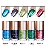 NICOLE DIARY 5 Flaschen Metallic Nagellack Spiegeleffekt Lack bunter glänzendes Metall Nagellack Maniküre Lack (5 Farben)
