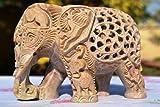 20,32 cm Großer Elefant Statuen - Elefant Fair Trade Handarbeit aus Speckstein Schnitz - Decke aus geschnitzter im Inneren der Figur Elefant mit einer weiteren Skulptur Elefant - Glücksbringer