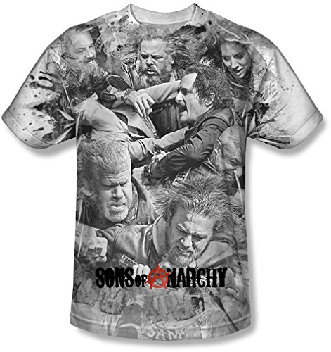 Anarchy-shirt Weiß Of Sons (Sons of Anarchy - Sons Of Anarchy - Herren Brawl T-Shirt, XX-Large, White)