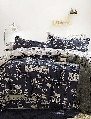 LIANGTT Vier Sätze Bettwäsche,einfache Opulenz Karikatur 100% Cotton gedruckte Liebe König Königin Bettbezug mit 1 Spannbetttuch und 2 Kissenbezüge eingestellt, King -