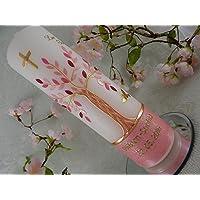 Taufkerze Lebensbaum rosa gold Taufkerzen Mädchen 250/70 mm inkl. Beschriftung