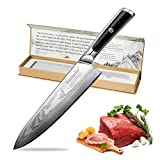 "Cuchillo de Chef, Sunecko 8""/ 20 cm Cuchillo Chef Damasco Cuchillos de Cocina Japoneses Cuchillo de Damasco Cuchillo de Cocinero/Damasco Acero 67 Capas de Acero"