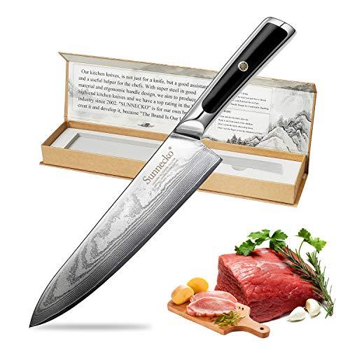 Sunnecko Kochmesser 8zoll/8inch Profi Küchenmesser - 20cm Damastmesser Chefmesser - Japanischer...