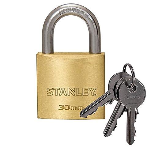 STANLEY Cadenas solide solide 30 mm anse standard, 3 clés, S742-030