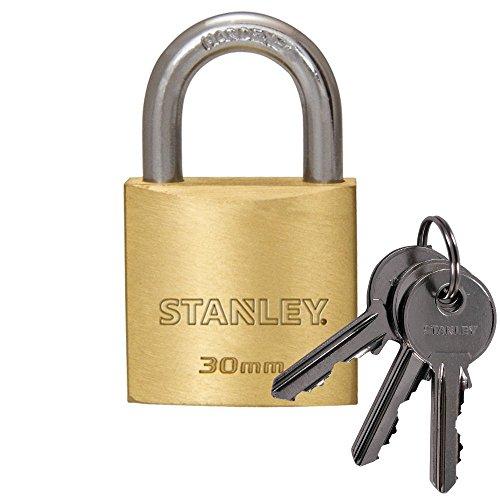 Stanley S742-030 Candado de latón macizo con arco estándar, 3 llaves, 1 unidad, 30 mm