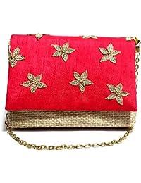 Arisha Kreation Co Ethnic Clutch Using Raw Silk And Jute Fabric (Pink)