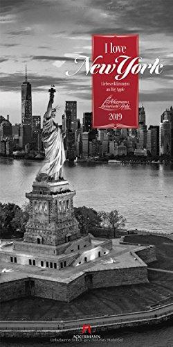 I love New York 2019, Wandkalender in Schwarz-Weiß im Hochformat (33x66 cm) - Städtekalender / Literaturkalender mit Zitaten mit Monatskalendarium (Literarische Reihe)