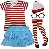 Desconocido MUJER ROJO Y BLANCO RAYAS 5 Piezas Set Camiseta + falda + Sombrero + gafas + Calcetines (grande)