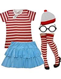 Desconocido MUJER ROJO Y BLANCO RAYAS 5 Piezas Set Camiseta + falda + Sombrero + gafas
