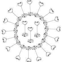 20 piezas Sostenedor Pinzas de Tarjeta Nota Fotos Soporte Metal Memo Clip en Corazón Marco de Bricolaje Alicates Favor de Boda Fiesta (8,2cm con base--20 uds.)