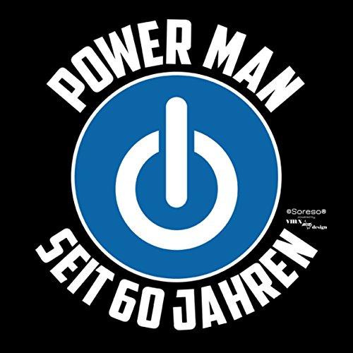 Geschenk für Männer zum 60. Geburtstag :-: Herren T-Shirt als Geschenkidee für Ihn zum runden Geburtstag Papa Opa :-: Power Man seit 60 Jahren ::: Farbe: schwarz Schwarz