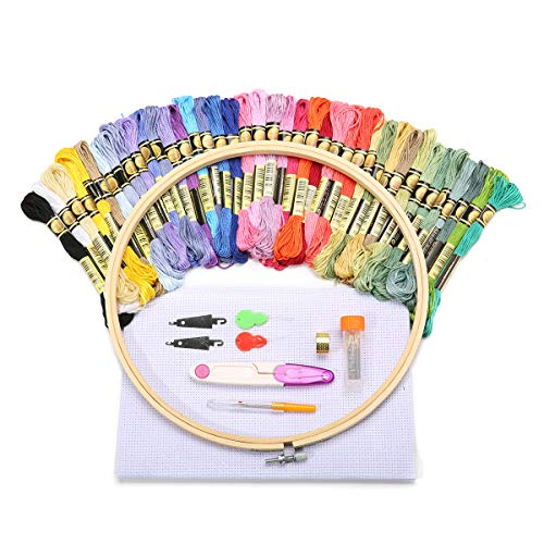 KING DO WAY 50 Stück embroidery tool set, Stickerei Starter Set,40 Stickgarn Multifarbe 1 Stickgarn 1 Stoff Stickgarn Zubehör Kreuzstich Stricken (50 pcs) -