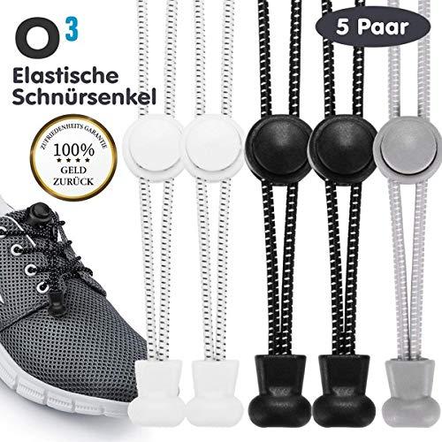 O³ Schnürsenkel Schnellschnürsystem // 5 Paar // Shoe Laces für Kinder und Erwachsene - anpassbare Länge // Elastische Schuhbänder mit Schnellverschluss schwarz weiß grau