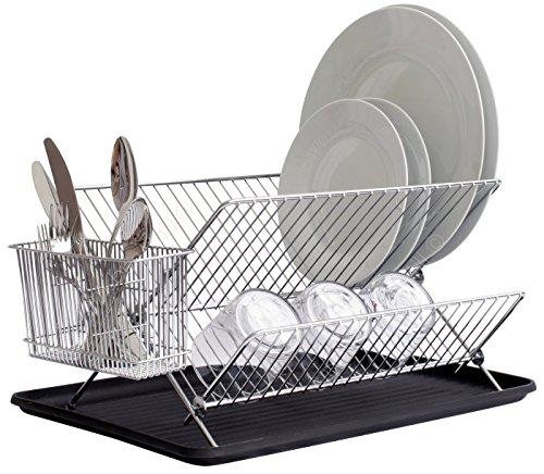 Bloomsbury Mill - 2 Tier Folding Dish Drainer - Collapsible Dryer Rack with Cutlery Holder and Tray - Anti-Rust - Chrome