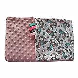 Rosa Schaukelpferd 75x100cm Minky Babydecke Kuscheldecke Krabbeldecke Decke Super weich und flauschig Handarbeit (75x100cm, Rosa Schaukelpferd)
