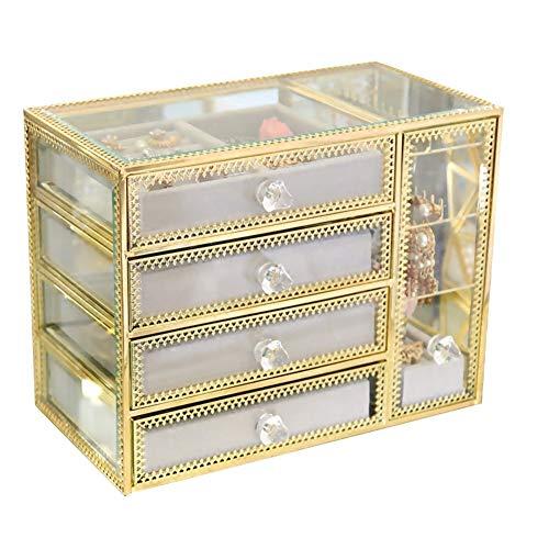 4da762c2d341 YANGJUN-Joyería Caja Accesorios Sencillo Vaso Arete Clasificar Hembra Cajón  Alta Capacidad Transparente (Color