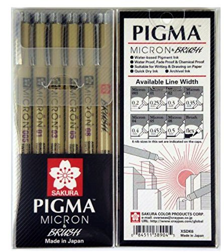 Sakura Pigma Micron Pen, dibujo artista bolígrafos, puntas, varios tamaños (005, 01, 03, 05, 08, punta de pincel) - Manga conjunto básico y álbumes de recortes Supplies