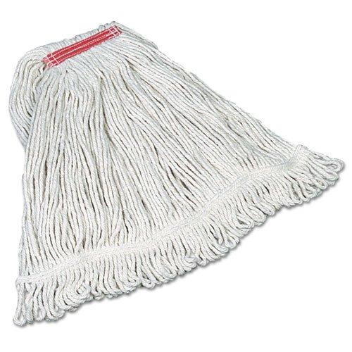 rcpd113-Rubbermaid Super Stitch Mop Köpfe, Baumwolle, weiß, groß, 1-in. Rot Haarband Super Stich Mop
