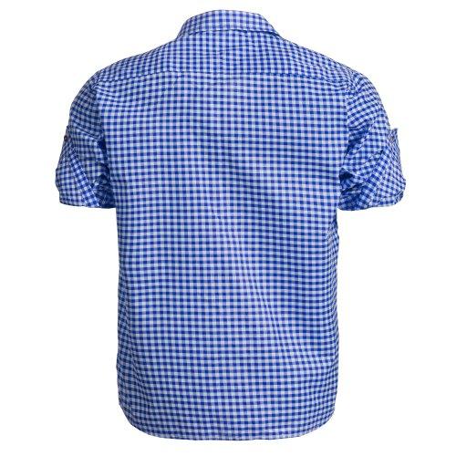 Herren Set Trachten Lederhose hellbaun Kurz mit Trägern + Trachtenhemd Blau Weiß Kariert 48-S - 7
