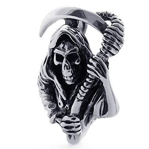 mendino Herren Sichel Sensenmann Tribal Halskette Edelstahl Anhänger mit 55,9cm Kette