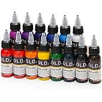 DLD 14pcs de alta calidad Fusion–Tinta 14colores Set 1oz 30ml/botella, diseño de tintas pigmento Kit para 3d maquillaje belleza piel cuerpo arte