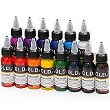 DLD haute qualité 14pcs encre de tatouage permanente 14 couleurs Microblading Pigment Set 1 Oz 30 ml/Kit de pigments d'encres pour tatouage et peinture corporelle