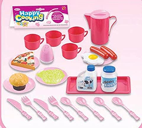 Kids Cooking Chef Kitchen Playset Toys | Cups | Plates | Knife Fork Spoon | Jug | Plastic Food | Salt Shaker | Can | Tableware Appliances Pretend Play Set