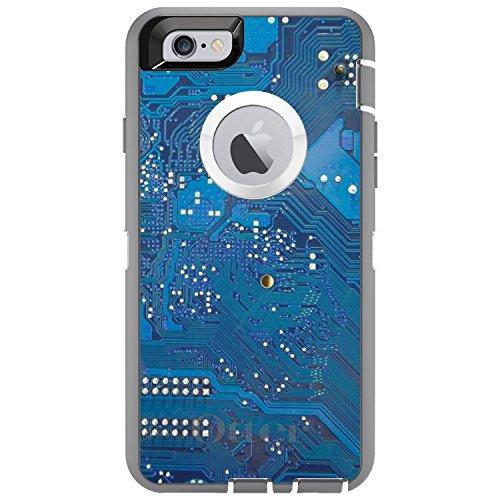DistinctInk Fall für iPhone 6 Plus / 6S Plus-Otterbox Defender Blauer Leiterplatte-Bild auf Grau-Weiß-Fall - Otterbox-fälle 6 Iphone Blau