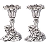 Rajkruti Metal Elephant Candle Stick Stand / Candle Holder For Home Decor / (Silver, Pack Of 2)