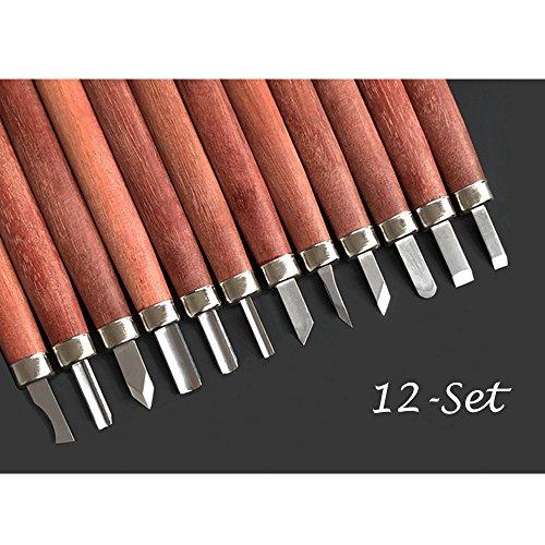 Mahagoni 12Set SK9Carbon Stahl Holz Werkzeug Set,, Meißel Set, Tranchiermesser Kit mit Schleifstein und sichere Verpackung Box für Anfänger und Pro