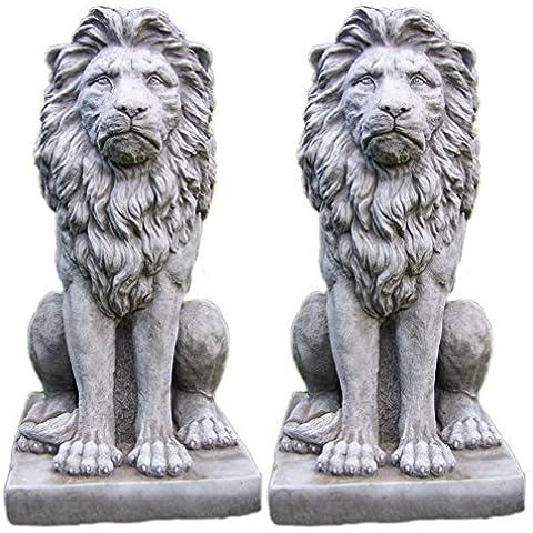 Grande orgullosos Leones Par–Estatua Mano Piedra adorno de jardín//Escultura