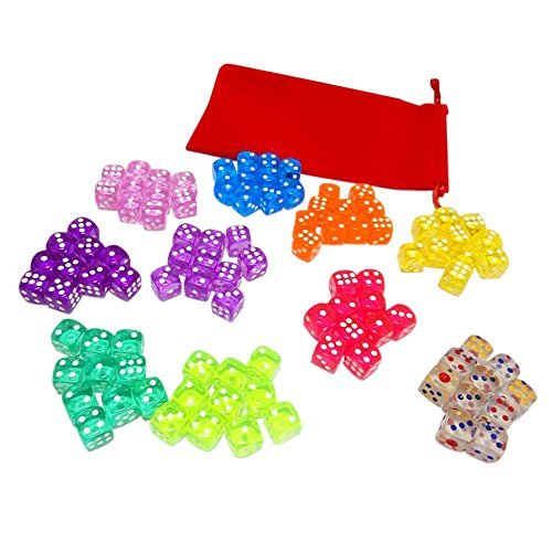 Visual Elite 100 Translucent Colored Dice Set From Visual Elite Bringing Fun to a Game or Learning Math Set Contains Green,Yellow, Rose, Purple, Orange, Pink, Cyan, Blue, Red, and Crystal Six