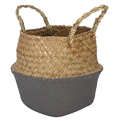 Seagrass Woven Basket, GOODCHANCEUK Belly Basket With Handle Foldable Flower Vase Hanging Pot Decorative Black&Grey