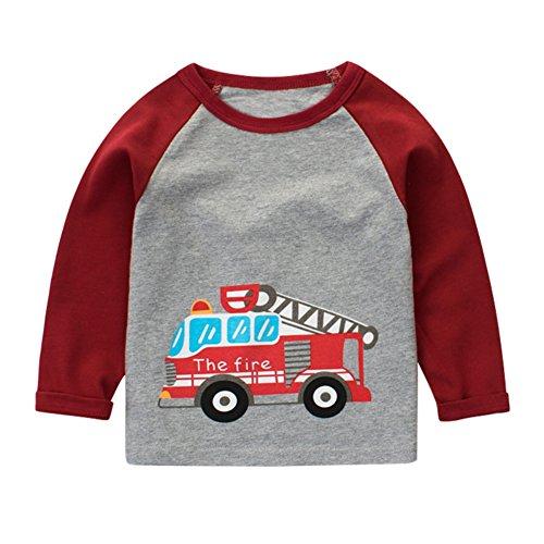 Hankyky Baby Jungen Langarmshirts Baumwolle T-Shirts Kinder Streetwear Oneck Pullover Sweatshirt 1/1 Arm Tops (0-9Jahre) (Top 7-fleece-crewneck)