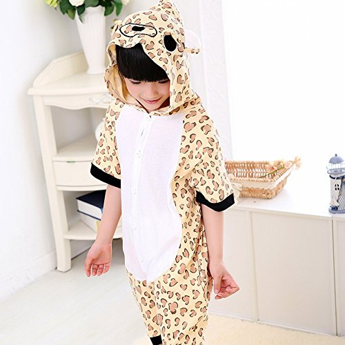 Kids Cartoon Flannel Animal Novelty Costumes Cosplay Pajamas Role-Playing Halloween Play Clothes,Leopard print,M (4 Yr Old Boy Halloween Kostüme)