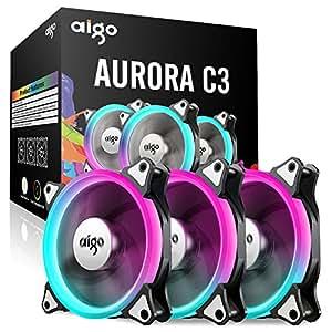 3 Pack 120mm aigo C3 Computer Case Fan PC Cooler Radiator RGB LED Low Noise High Airflow, Light / Fan Speed Adjustable, Different Light Modes
