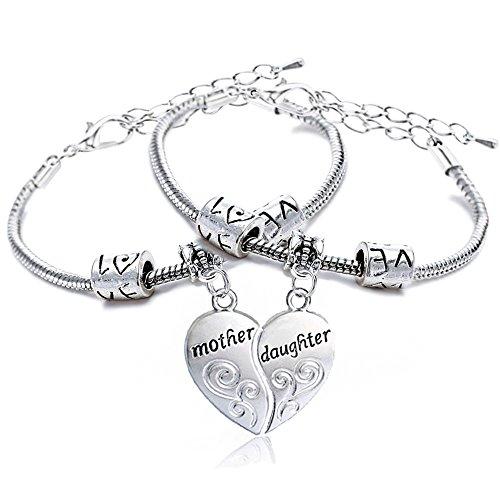 2, in lega d'argento con cuore spezzato madre e figlia Split Puzzl-Collana con ciondolo, braccialetto regalo per la famiglia