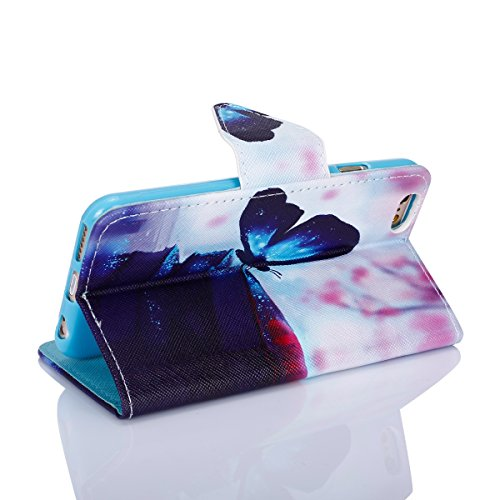 iPhone 6S Lederhülle,iPhone 6 Brieftasche,JAWSEU Retro Prägung Pfaublume Muster Strap Pu Ledertasche Wallet Brieftasche im Book Style Protektiv Schutzhülle Handyhülle Etui Case Cover mit [Ständerfunkt Blau Schmetterling